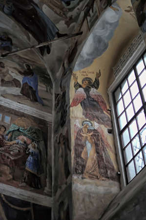 self-healing unrestored fresco of the Trinity Cathedral of Alexander Svirsky Monastery Stock Photo - 21755187