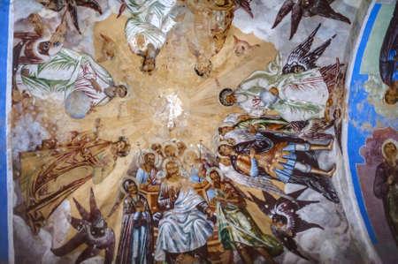 self-healing unrestored fresco of the Trinity Cathedral of Alexander Svirsky Monastery Stock Photo - 21755188