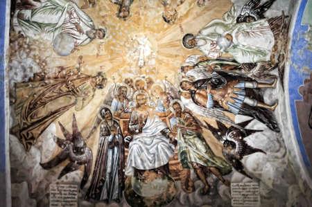 self-healing unrestored fresco of the Trinity Cathedral of Alexander Svirsky Monastery Stock Photo - 21755189