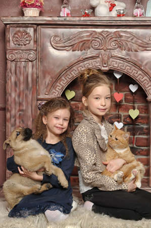 two girls with a cat and a puppy in her arms Stock Photo - 21991780