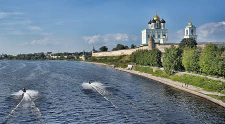 View of Pskov Kremlin and Velikaya  Great  River photo