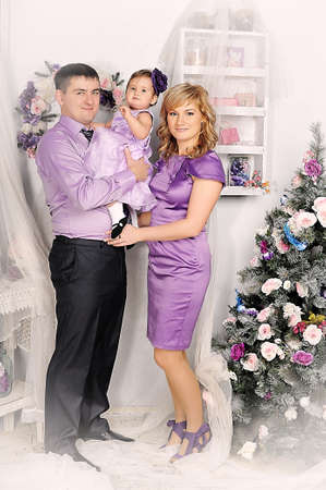 family portrait with baby daughter Stock Photo - 22160599