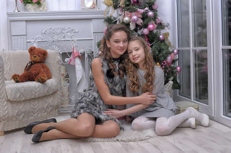 two sisters near a Christmas tree photo