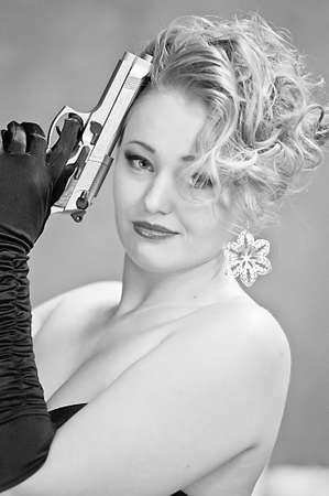 lady with gun photo