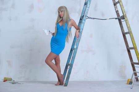 apartmant: Female construction worker   Stock Photo