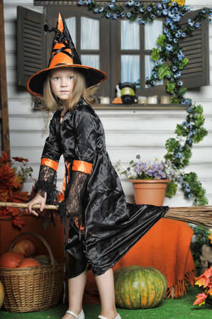 Portrait of girl in witch costume