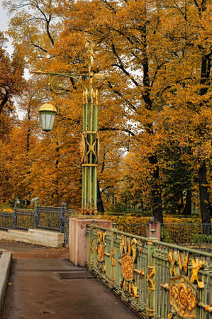 Lantern on the bridge in autumn photo