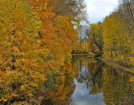Autumn river and the reflection of trees in water photo