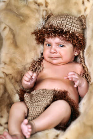 Cute little Newborn Baby boy posing for camera  photo