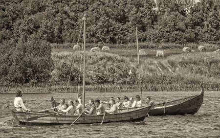 Viking ship on the river