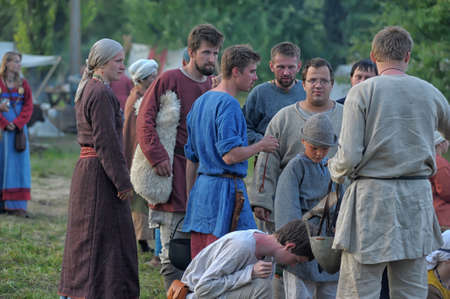 historical period: Medieval feast, the festival of historical reconstruction of the early Middle Ages, Volkhov, Russia Editorial