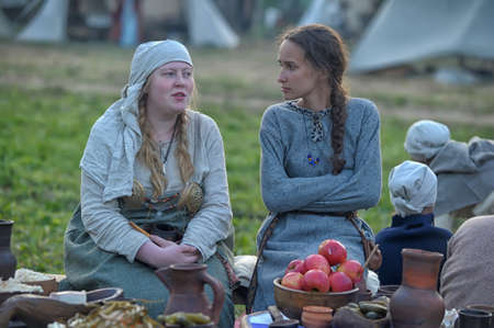 volkhov: Medieval feast, the festival of historical reconstruction of the early Middle Ages, Volkhov, Russia Editorial