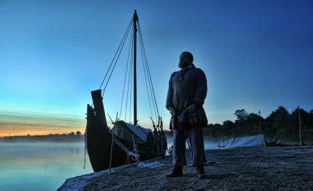 viking ship: Viking ship on the river Editorial