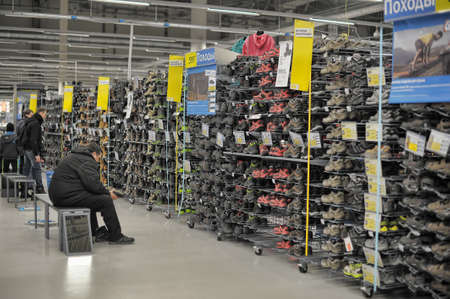 Decathlon sport store shopping in St  Petersburg, Russia