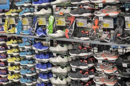 Petersburg, Russia - Sport articles for sale at the large Decathlon store