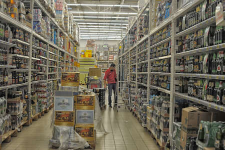 Beer and wine department at the supermarket