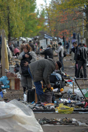 Flea market in a vacant lot, Russia Stock Photo - 25293930