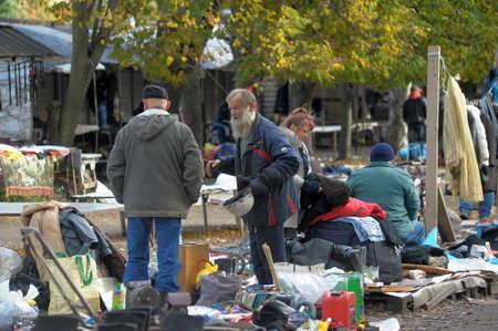 bedspread: Flea market in a vacant lot, Russia