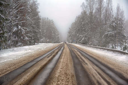 Winter road with some fog, Russia
