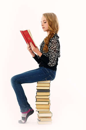 Girl  is reading book photo
