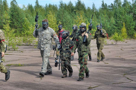 Tournament paintball in the woods, St  Petersburg, Russia