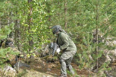 People playing paintball game