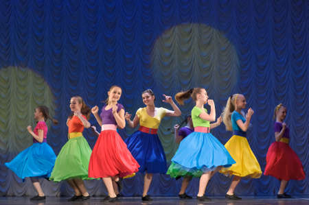 Dance performance on stage, Festival of children s dance groups, St  Petersburg, Russia