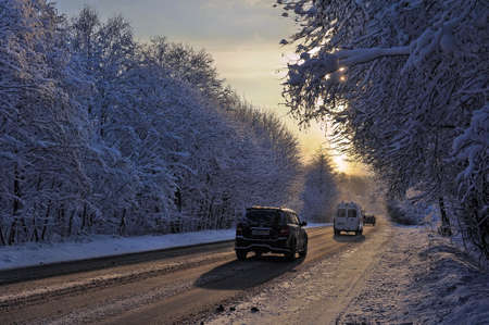 traffic on the road in winter
