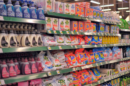 Cleaning products for sale in a big supermarket