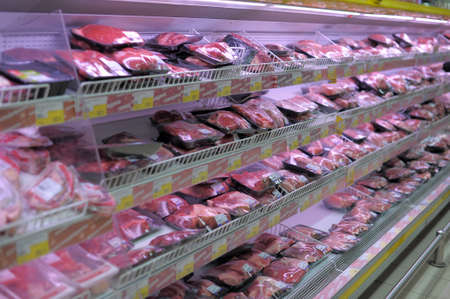 Meat products at supermarket