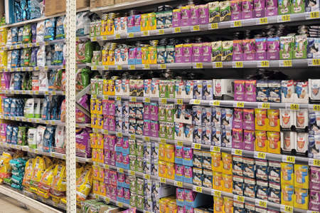 famous industries: Pet food on a store shelf  Russia