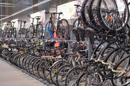 Bicycles for sale in a sporting goods store  Editorial