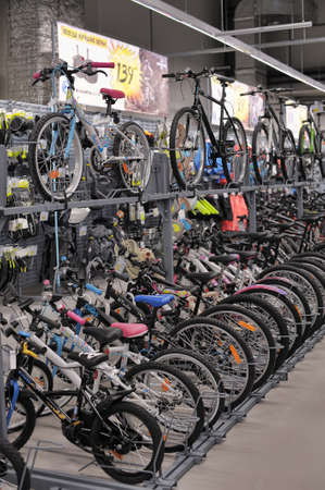 sporting goods: Bicycles for sale in a sporting goods store  Editorial
