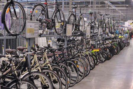 off road biking: Bicycles for sale in a sporting goods store  Editorial