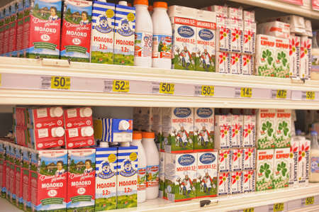 Shelves with milk products