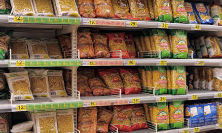 pasta on store shelves