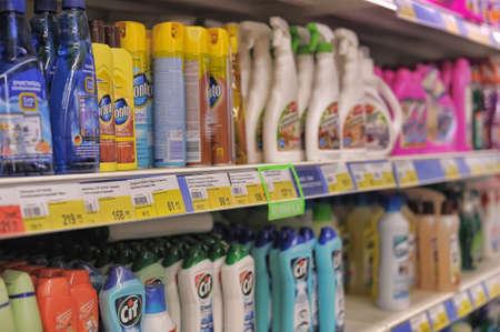 大きなスーパー マーケットでの販売用のクリーニング製品 写真素材 - 26631290
