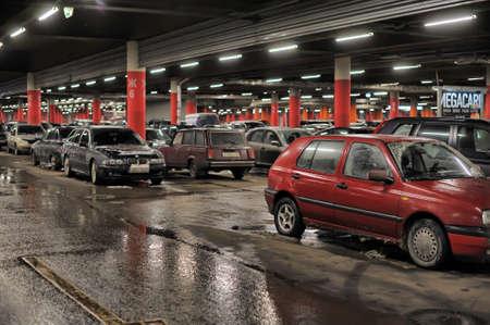 Underground parking in the shopping center Auchan, St  Petersburg, Russia
