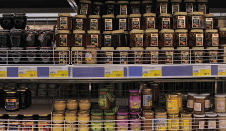 Honey on store shelves, in St  Petersburg, Russia
