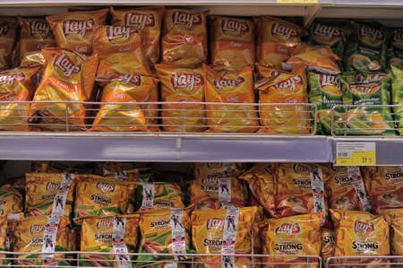 Chips on store shelves, St  Petersburg, Russia