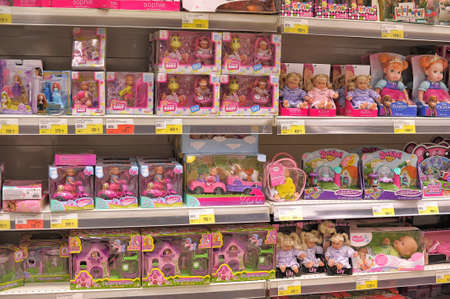 Shelves full of children toys in a Italian toys shop in Petersburg  Russia