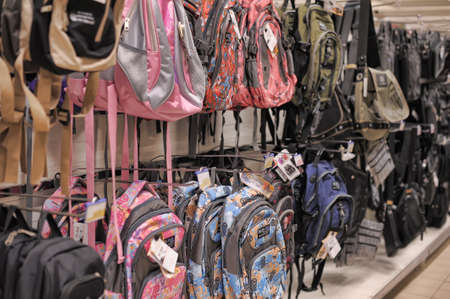 Bags and backpacks on store shelves, in St  Petersburg, Russia