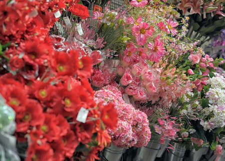 artificial flowers in the shop photo