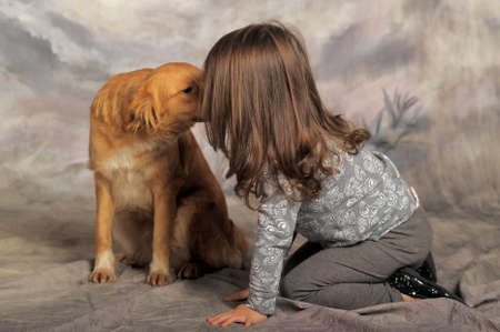 Little girl and the dog  photo