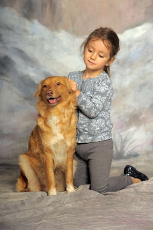 affinity: Little girl and her friend the dog
