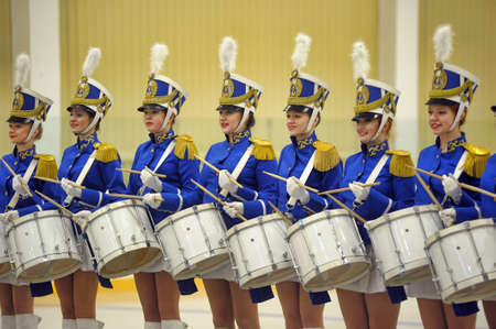 Drummer girls at the celebration of Defender of the Fatherland, St  Petersburg, Russia