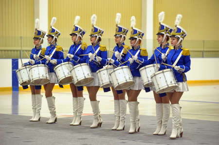 defender: Drummer girls at the celebration of Defender of the Fatherland, St  Petersburg, Russia Editorial