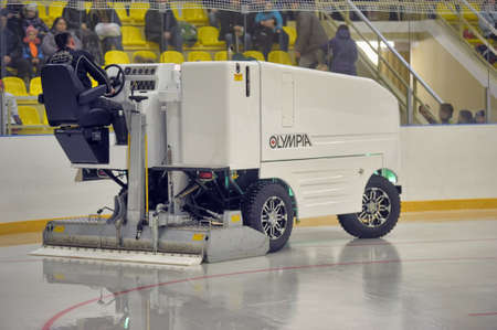 resurfacing: The machine for resurfacing ice in stadium  Preparation of ice arena