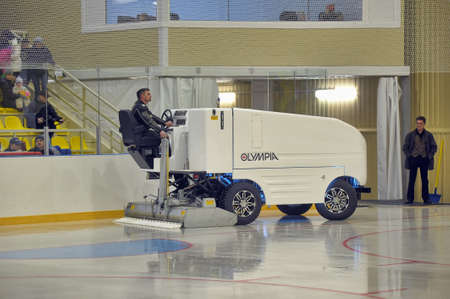 resurfacing: The machine for resurfacing ice in stadium  Preparation of ice arena