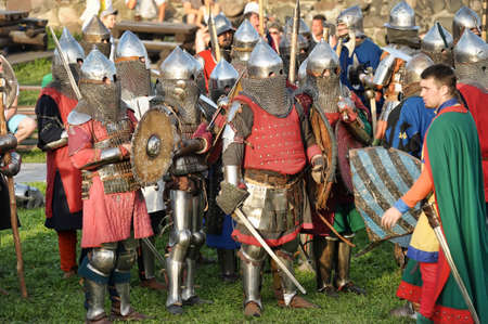 reenactor: Knights in armor battle